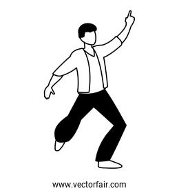 silhouette of man in pose of dancing on white background