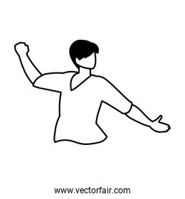 man in pose of dancing, party, on white background