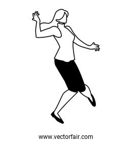 silhouette of woman in pose of dancing on white background