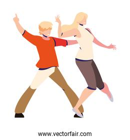 couple of people in pose of dancing on white background