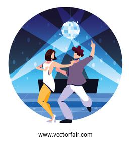 couple of people dancing in nightclub, party, dancing club, music and nightlife