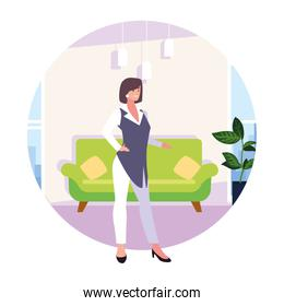 businesswoman in the living room on white background