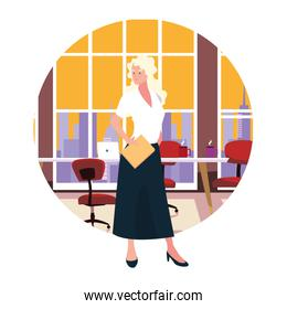 businesswoman in the work office on white background
