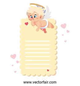 card valentines day with cupid angel , sheet to write