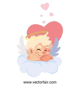 cupid angel sleeping on a cloud on white background