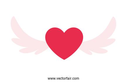 hearts with wings on white background