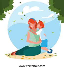 woman and son with background landscape