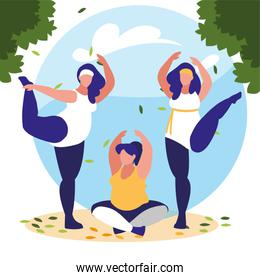 women outdoors practicing yoga with background landscape