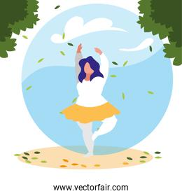 woman outdoors practicing yoga with background landscape