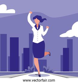 businesswoman celebrating victory, business professional woman
