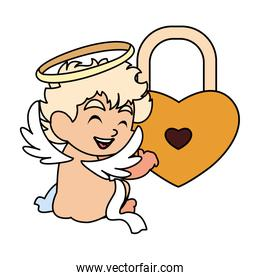 cute cupid angel on white background , valentines day