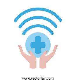 online doctor, hands support connection consultant medical protection covid 19, flat style icon