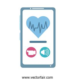 online doctor, smartphone video call heart treatment consultant medical, flat style icon