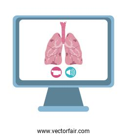 online doctor, computer video call consultant medical covid 19, flat style icon
