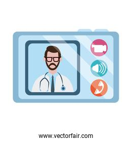 online doctor, physician tablet computer consultation medical diagnostic covid 19, flat style icon