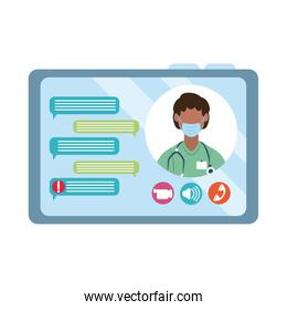 online doctor, chatting video tablet computer consultant medical protection covid 19, flat style icon