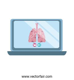 online doctor, laptop respiratory disease consultant medical protection covid 19, flat style icon