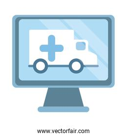 online doctor, computer ambulance emergency support medical covid 19, flat style icon