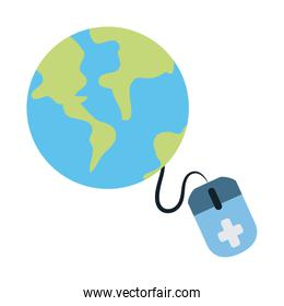 online doctor, world consultant medical protection covid 19, flat style icon