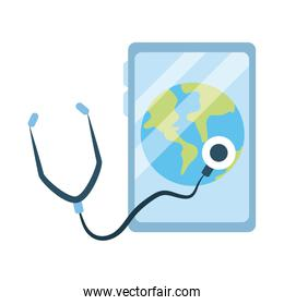 online doctor, smartphone world diagnostic consultant medical, flat style icon