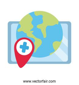 online doctor, world tablet computer consultant medical covid 19, flat style icon