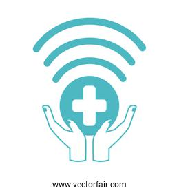 online doctor, hands support connection consultant medical protection covid 19, line style icon