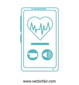 online doctor, smartphone video call heart treatment consultant medical, line style icon