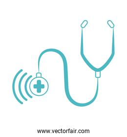 online doctor, stethoscope diagnostic consultant medical protection covid 19, line style icon