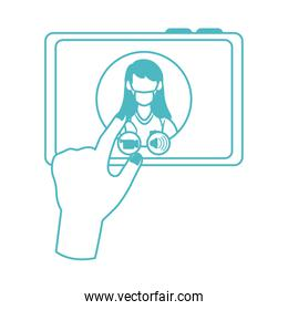 online doctor, hand with tablet computer physician consultation medical covid 19, line style icon