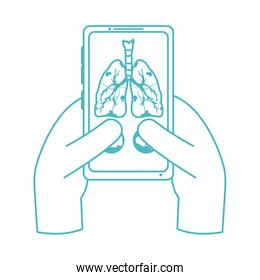 online doctor, hands with smartphone consultant medical protection covid 19, line style icon