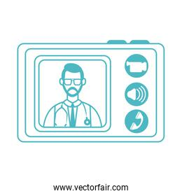 online doctor, physician tablet computer consultation medical diagnostic covid 19, line style icon