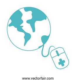 online doctor, world consultant medical protection covid 19, line style icon