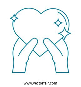 happy friendship day celebration hand with glowing heart romantic line style icon
