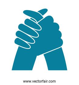happy friendship day celebration handshake gesture silhouette style icon