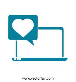 happy friendship day celebration laptop chatting love message silhouette style icon