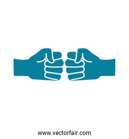 happy friendship day celebration two hands bumping together silhouette style icon