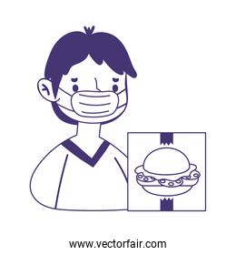 young man with mask food menu online shopping line style