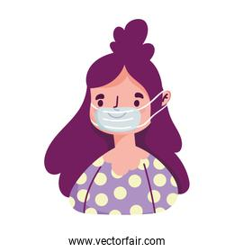 young woman cartoon character with medical mask covid 19 isolated icon