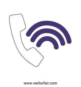 telephone call connection service customer isolated icon design line style