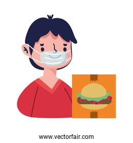 young man with mask food menu online shopping