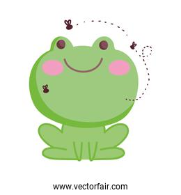 frog with flies farm animal isolated icon on white background