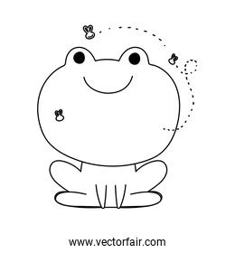 frog with flies farm animal isolated icon on white background line style