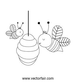 bees in the hive farm animal isolated icon on white background line style