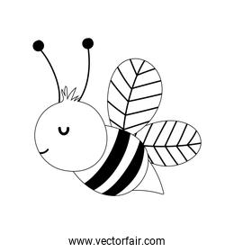 bee insect farm animal isolated icon on white background line style