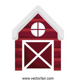 farm wooden barn isolated icon on white background