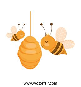 bees in the hive farm animal isolated icon on white background
