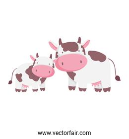 cows cattle livestock farm animal cartoon isolated icon on white background