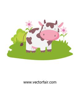 cow flowers grass farm animal cartoon isolated icon on white background