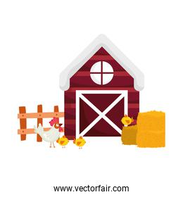 farm animals rooster and chickens barn fence hay cartoon