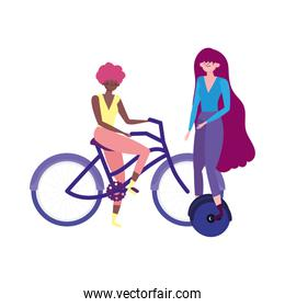 eco friendly transport, young women riding unicycle and bike